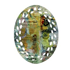 Old Newspaper And Gold Acryl Painting Collage Oval Filigree Ornament (Two Sides)