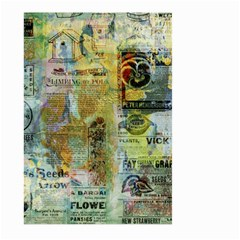 Old Newspaper And Gold Acryl Painting Collage Large Garden Flag (Two Sides)