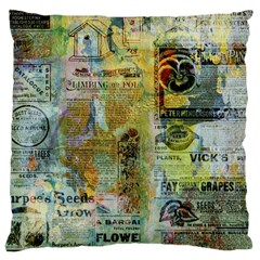Old Newspaper And Gold Acryl Painting Collage Large Cushion Case (One Side)
