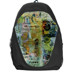 Old Newspaper And Gold Acryl Painting Collage Backpack Bag