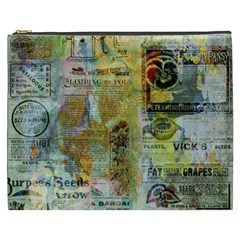 Old Newspaper And Gold Acryl Painting Collage Cosmetic Bag (XXXL)