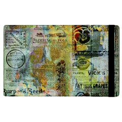 Old Newspaper And Gold Acryl Painting Collage Apple iPad 3/4 Flip Case