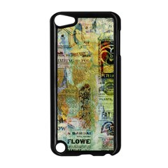 Old Newspaper And Gold Acryl Painting Collage Apple iPod Touch 5 Case (Black)