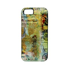 Old Newspaper And Gold Acryl Painting Collage Apple iPhone 5 Classic Hardshell Case (PC+Silicone)