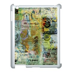 Old Newspaper And Gold Acryl Painting Collage Apple iPad 3/4 Case (White)