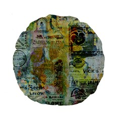 Old Newspaper And Gold Acryl Painting Collage Standard 15  Premium Round Cushions