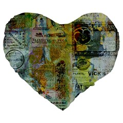 Old Newspaper And Gold Acryl Painting Collage Large 19  Premium Heart Shape Cushions