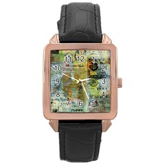 Old Newspaper And Gold Acryl Painting Collage Rose Gold Leather Watch