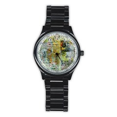 Old Newspaper And Gold Acryl Painting Collage Stainless Steel Round Watch