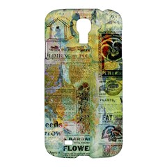 Old Newspaper And Gold Acryl Painting Collage Samsung Galaxy S4 I9500/I9505 Hardshell Case