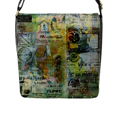 Old Newspaper And Gold Acryl Painting Collage Flap Messenger Bag (L)