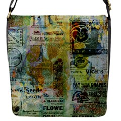 Old Newspaper And Gold Acryl Painting Collage Flap Messenger Bag (S)