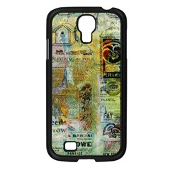 Old Newspaper And Gold Acryl Painting Collage Samsung Galaxy S4 I9500/ I9505 Case (Black)