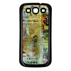 Old Newspaper And Gold Acryl Painting Collage Samsung Galaxy S3 Back Case (Black)
