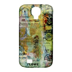 Old Newspaper And Gold Acryl Painting Collage Samsung Galaxy S4 Classic Hardshell Case (PC+Silicone)