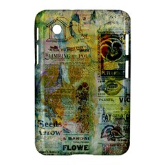 Old Newspaper And Gold Acryl Painting Collage Samsung Galaxy Tab 2 (7 ) P3100 Hardshell Case