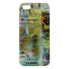 Old Newspaper And Gold Acryl Painting Collage iPhone 5S/ SE Premium Hardshell Case