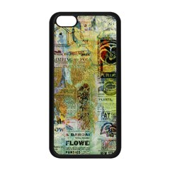 Old Newspaper And Gold Acryl Painting Collage Apple iPhone 5C Seamless Case (Black)