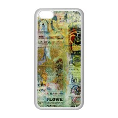 Old Newspaper And Gold Acryl Painting Collage Apple iPhone 5C Seamless Case (White)