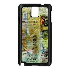 Old Newspaper And Gold Acryl Painting Collage Samsung Galaxy Note 3 N9005 Case (Black)