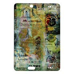 Old Newspaper And Gold Acryl Painting Collage Amazon Kindle Fire HD (2013) Hardshell Case