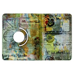 Old Newspaper And Gold Acryl Painting Collage Kindle Fire HDX Flip 360 Case