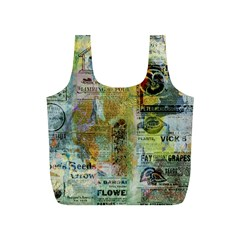 Old Newspaper And Gold Acryl Painting Collage Full Print Recycle Bags (S)