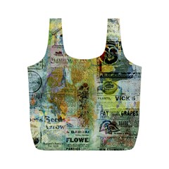 Old Newspaper And Gold Acryl Painting Collage Full Print Recycle Bags (M)