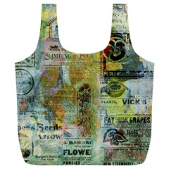 Old Newspaper And Gold Acryl Painting Collage Full Print Recycle Bags (L)