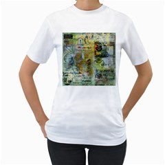 Old Newspaper And Gold Acryl Painting Collage Women s T-Shirt (White)