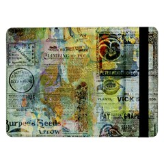 Old Newspaper And Gold Acryl Painting Collage Samsung Galaxy Tab Pro 12.2  Flip Case