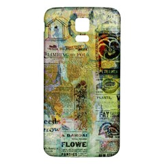 Old Newspaper And Gold Acryl Painting Collage Samsung Galaxy S5 Back Case (White)