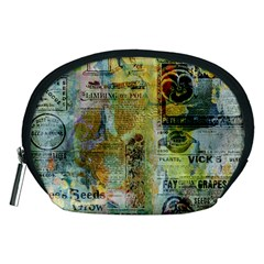 Old Newspaper And Gold Acryl Painting Collage Accessory Pouches (Medium)