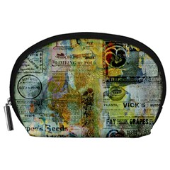 Old Newspaper And Gold Acryl Painting Collage Accessory Pouches (Large)