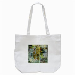 Old Newspaper And Gold Acryl Painting Collage Tote Bag (White)