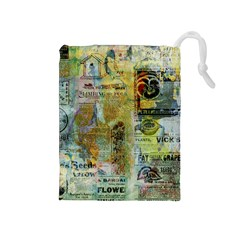Old Newspaper And Gold Acryl Painting Collage Drawstring Pouches (Medium)