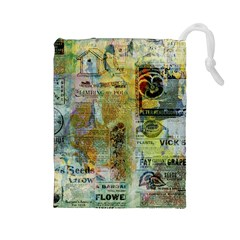 Old Newspaper And Gold Acryl Painting Collage Drawstring Pouches (Large)