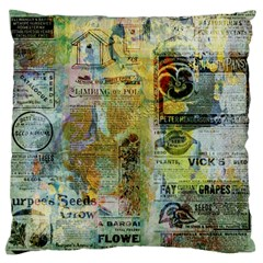 Old Newspaper And Gold Acryl Painting Collage Large Flano Cushion Case (One Side)
