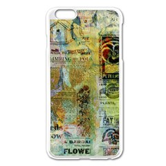 Old Newspaper And Gold Acryl Painting Collage Apple iPhone 6 Plus/6S Plus Enamel White Case