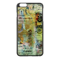 Old Newspaper And Gold Acryl Painting Collage Apple iPhone 6 Plus/6S Plus Black Enamel Case