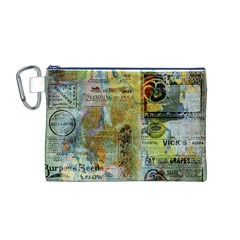 Old Newspaper And Gold Acryl Painting Collage Canvas Cosmetic Bag (M)