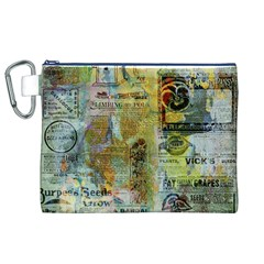 Old Newspaper And Gold Acryl Painting Collage Canvas Cosmetic Bag (XL)