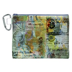 Old Newspaper And Gold Acryl Painting Collage Canvas Cosmetic Bag (XXL)