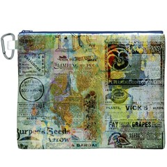 Old Newspaper And Gold Acryl Painting Collage Canvas Cosmetic Bag (XXXL)