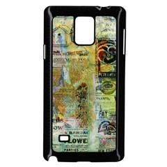 Old Newspaper And Gold Acryl Painting Collage Samsung Galaxy Note 4 Case (Black)