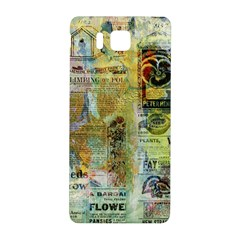 Old Newspaper And Gold Acryl Painting Collage Samsung Galaxy Alpha Hardshell Back Case