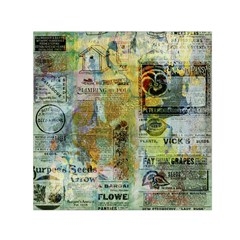 Old Newspaper And Gold Acryl Painting Collage Small Satin Scarf (Square)