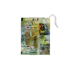 Old Newspaper And Gold Acryl Painting Collage Drawstring Pouches (XS)