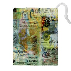 Old Newspaper And Gold Acryl Painting Collage Drawstring Pouches (XXL)