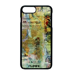 Old Newspaper And Gold Acryl Painting Collage Apple Iphone 7 Plus Seamless Case (black)
